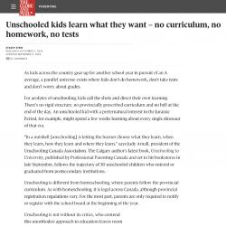 Globe and Mail, Unschooled kids learn what they want